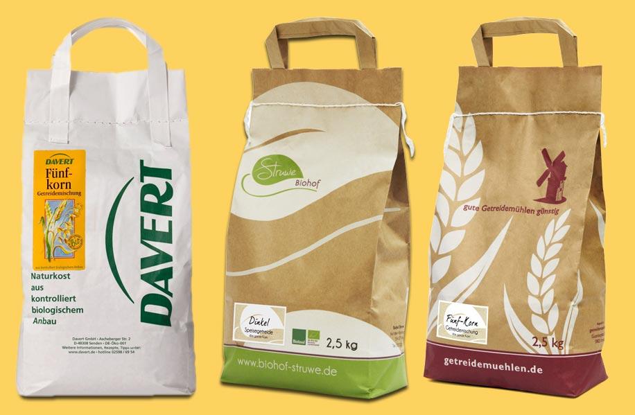 Bio-Getreide in Tüten von Davert, Struwe und getreidemuehlen.de